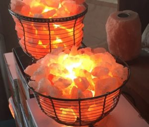 Himalayan salt basket lamps